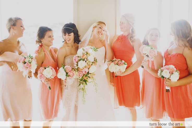 pink and salmon bridesmaid dresses with anna maier bride nj wedding photography  @turnloosetheart