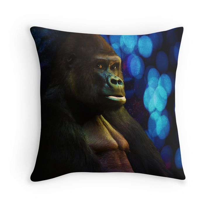 Gorilla stare with abstract bokeh background in blue throw pillow by Tracey Lee Art Designs