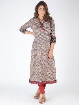 Grey-Black Block-Printed Cotton Kurta with Embroidery