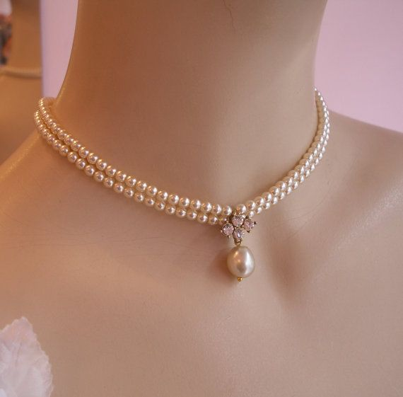 Bridal Vintage Pearls Necklace Choker Wedding by mylittlebride