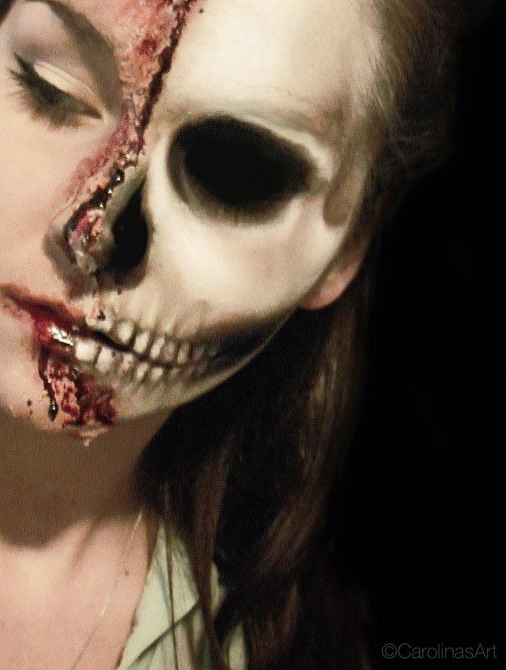 Image result for half skeleton face makeup