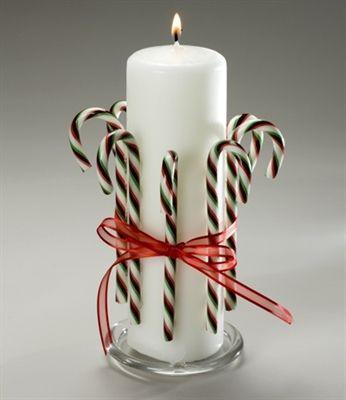 candy cane centerpieces | Candy Cane Pillar Candle