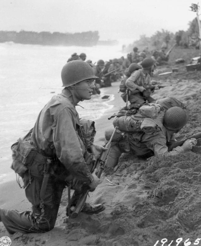 U.S. soldiers on the beaches of Aitape, New Guinea, April 22, 1944.