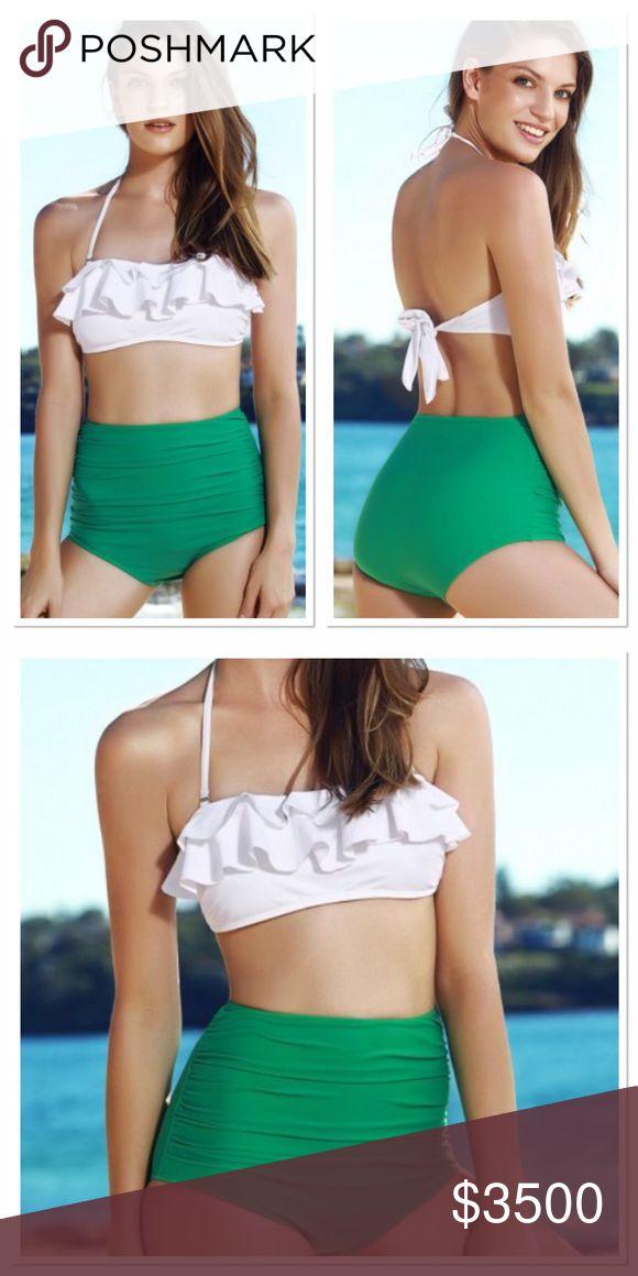 🔜 White and green high waisted bikini Coming soon ! Like to be notified! Swim Bikinis