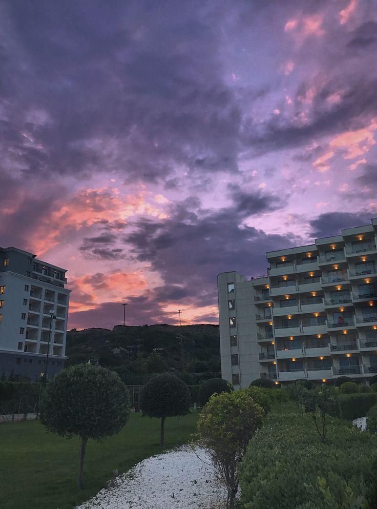 #sunset #Greece #resort #hotel #sky #purple #sun #aesthetic #view #закат #солнце