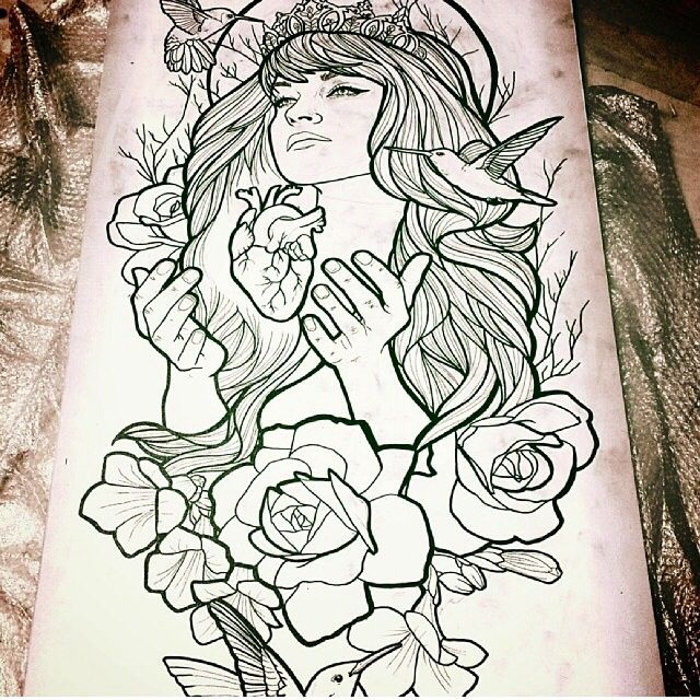Sketch for Neo-Traditional lady tattoo