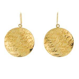 LOT:327 | TIFFANY & CO. - a pair of 18ct gold ear pendants.