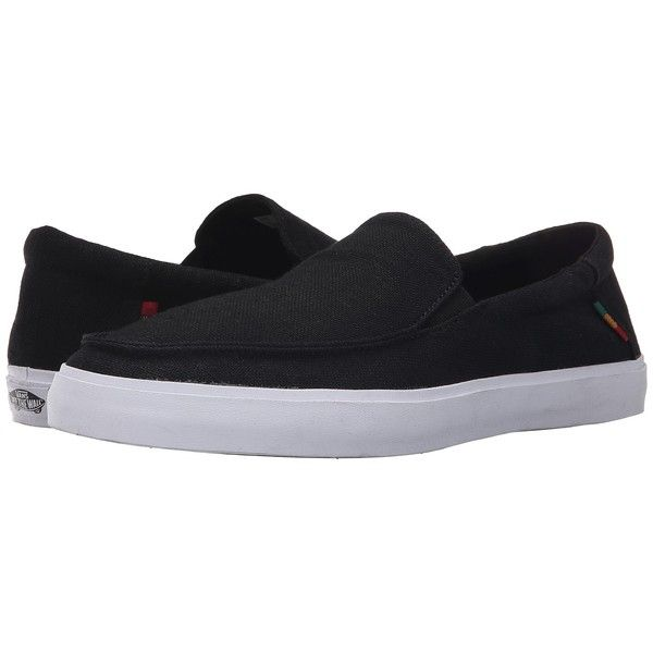 Vans Bali SF ((Hemp) Black/Rasta) Men's Shoes ($52) ❤ liked on Polyvore featuring men's fashion, men's shoes, men's sneakers, mens slip on loafers, mens slip on sneakers, mens slip on shoes, mens black shoes and mens black slip on shoes