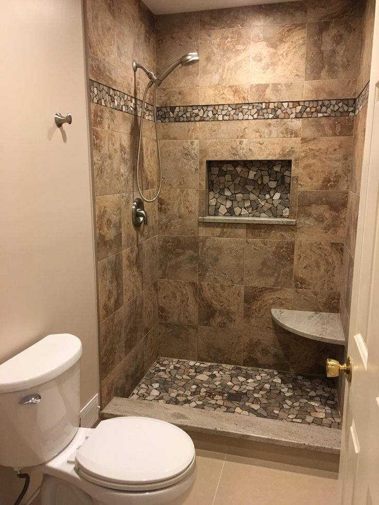 This walk-in shower is one of our favorite features of this bathroom Rustic Bathroom Designs, Bathroom Design Luxury, Rustic Bathrooms, Bathroom Design Small, Bathroom Layout, Walk In Bathroom Showers, Master Bathroom Shower, Shower Remodel, Rock Shower