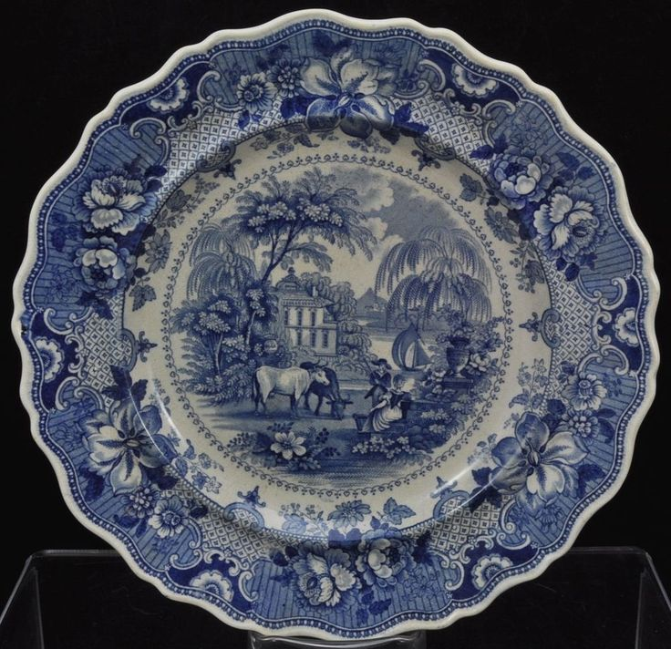 alot of detail and of course love the cows! No country of origin mark so pre Antique Ralph Hall Blue Staffordshire Plate Bottom mark Parisian Chateau & 574 best Vintage Blue White China images on Pinterest | White china ...