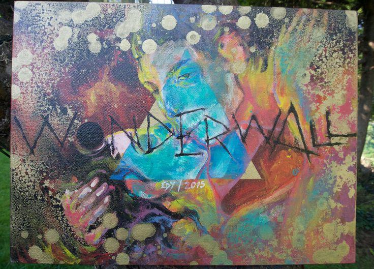 "Artist: EDMUNDO MORENO.   ""TESORO PERDIDO"" ""LOST TREASURE""    Technic: Acrylic & enamel spray paint on canvas/ board.    Song: WONDERWALL   Band: OASIS   Album: (WHAT'S THE STORY) MORNING GLORY?  Noel Gallagher 1995  Mexican, 30 years old, urban artist."