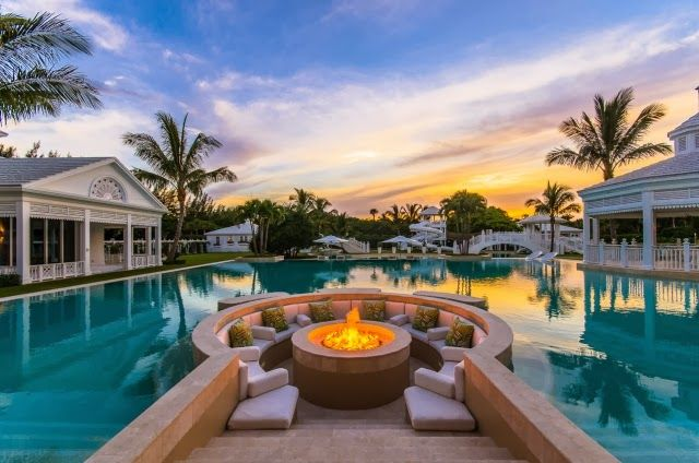 pool, relax, palm tree, fireplace,