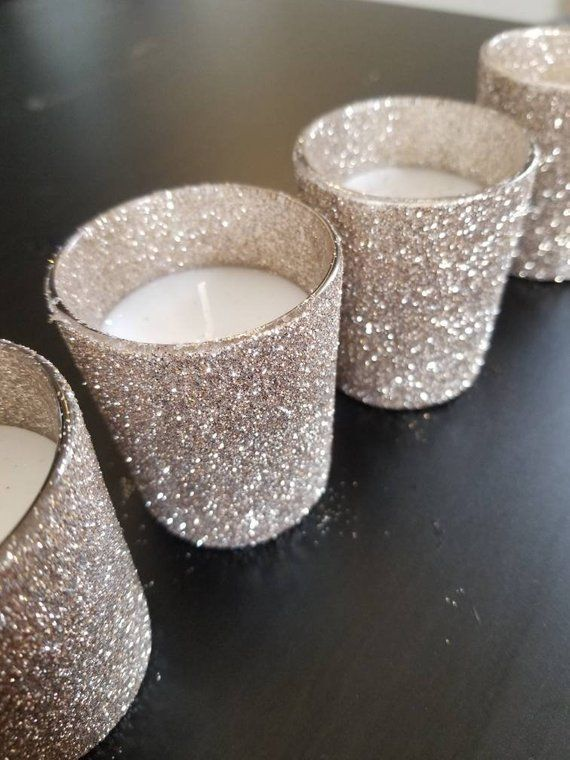 36 Sparkly Silver Champagne Glitter Votives New Yeard Eve Decor Wedding Decor Party Decor Home Decor Candle Holders Wedding