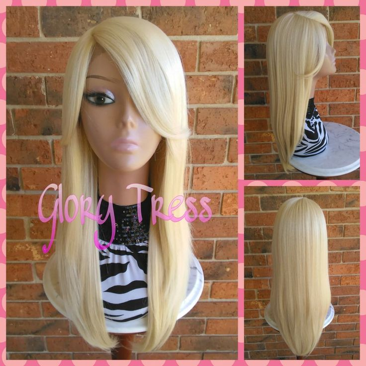 READY To SHIP // Long & Straight Lace Front Wig, Platinum Blonde Wig, Side Swoop Bangs // VIRTUE (Free Shipping)
