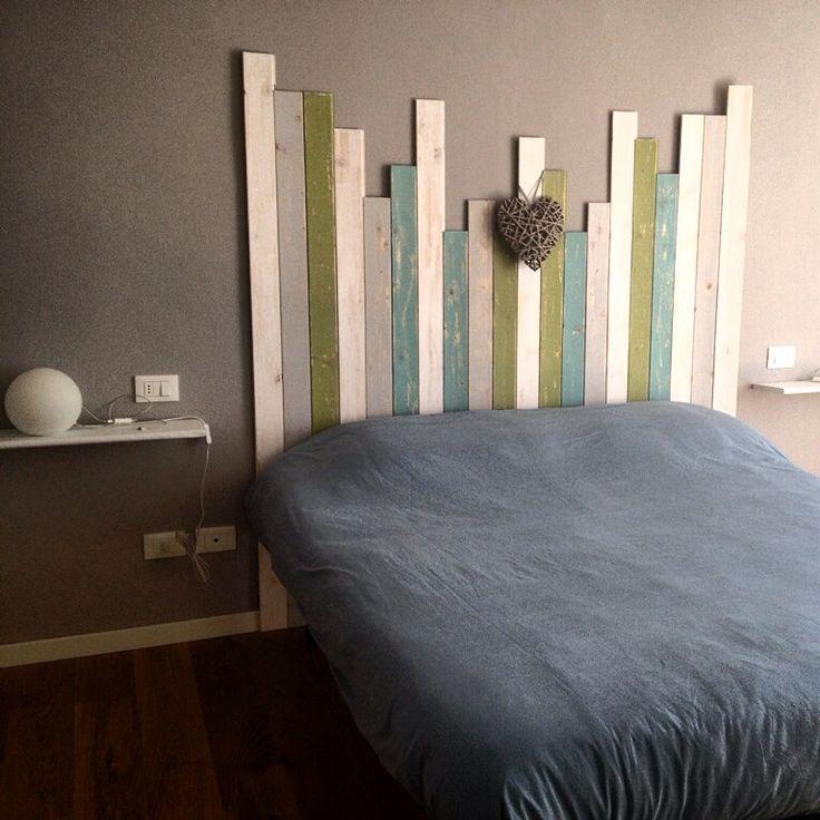 Selfmade wood bed headboard ❤️DIY ❤️ riciclo creativo ❤️ testiera letto con listelli di legno