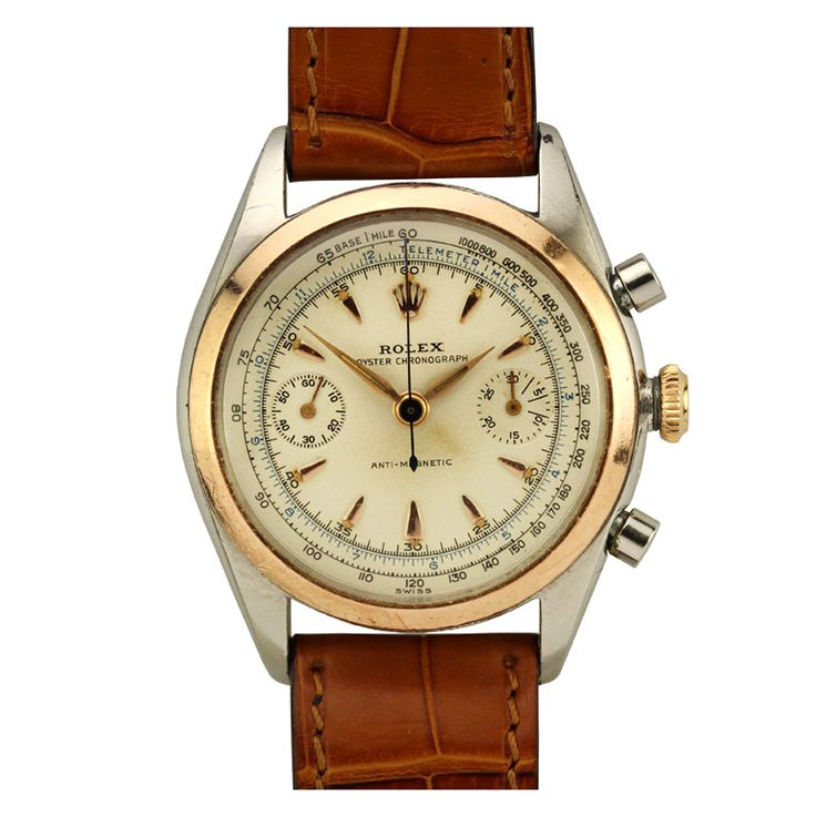 rolex stainless steel and rose gold chronograph wristwatch ref circa 1940s