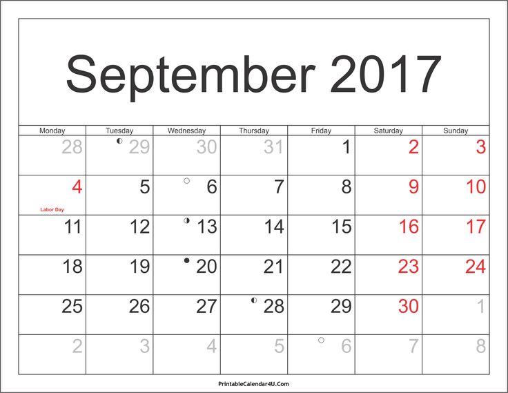 Great September 2017 Calendar With Holidays Http://socialebuzz.com/september 2017