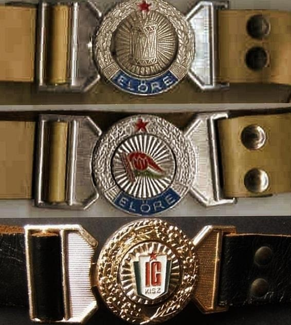 "Belt buckles for the communist youth organizations: ""Little Drummers"", ""Leader of the Way"",""Communist Youth Member"" // Kisdobos, úttörõ, KISZ tag"