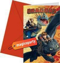 Inviti con busta Dragon Trailer 6 pezzi