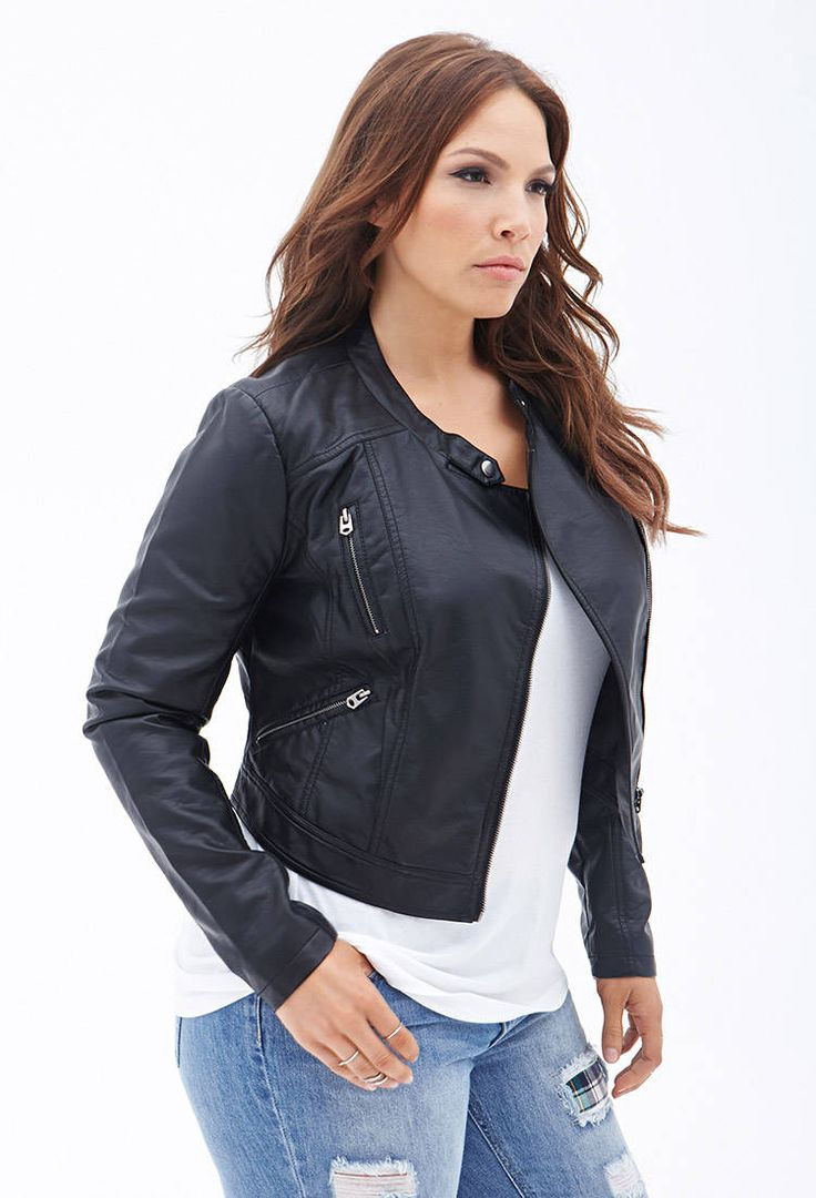 Leather jacket xl size - They Were Out Of This In My Size Faux Leather Moto Jacket F21plus
