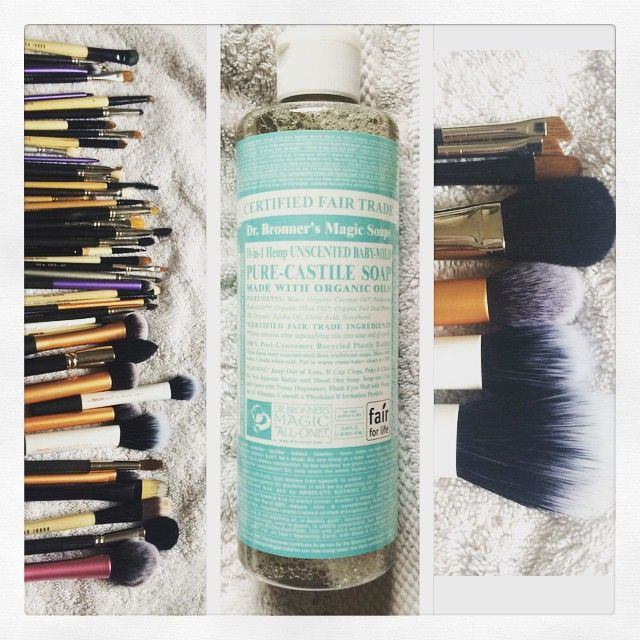 Beautifully clean brushes. Love this soap wash for a deep clean of my makeup brushes, no oily residue, only a tiny bit needed. Love it!  #cleanbrushes #makeup #drbronners #magicsoap #keepthemclean #deepclean #purecastillesoap #hollandandbarrett #wortheverypenny #rainydayactivities ☔️