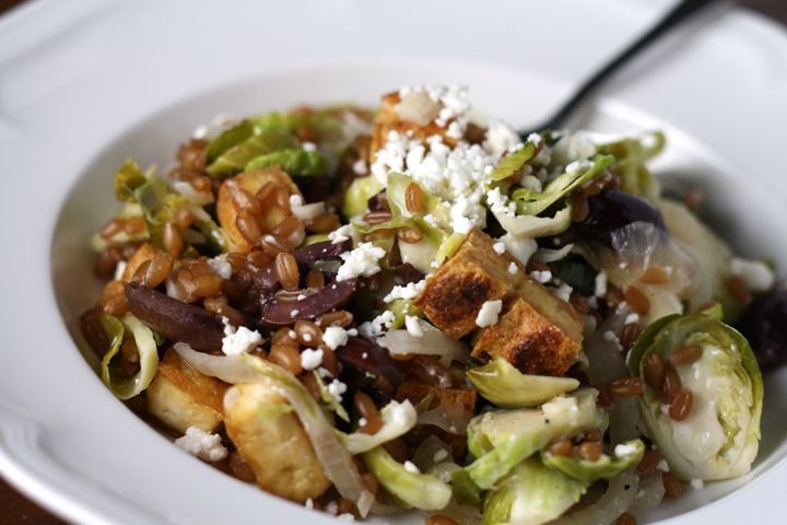 Warm Wheatberry, Brussels Sprout Salad with Feta, Olives and Crispy ...