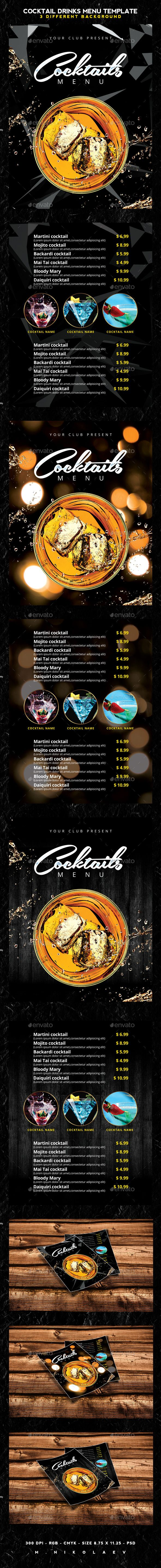 Cocktail Drinks Menu Template #design #alimentationmenu Download: http://graphicriver.net/item/cocktail-drinks-menu/12253324?ref=ksioks