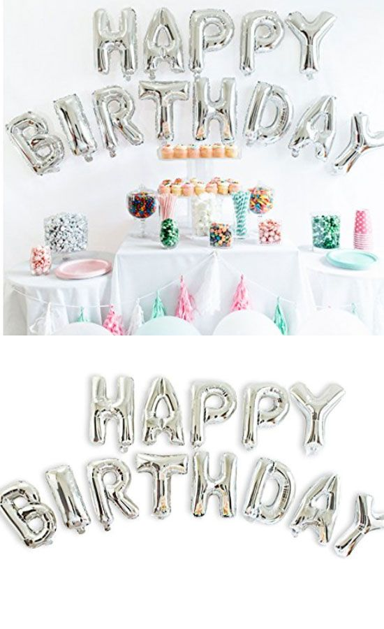 Shiny Silver Foil HAPPY BIRTHDAY Balloons Banner | Sweet Sixteen Party Favor Ideas for Teens | Sweet Sixteen Party Ideas on a Budget