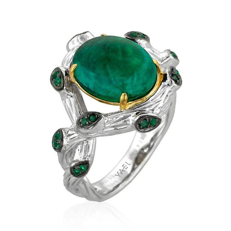 Terra Ring from the Serendipity Emerald Collection ~ 18k two tone cocktail ring featuring 4.55ct cabochon emerald stone, accented by 0.12ct of emeralds