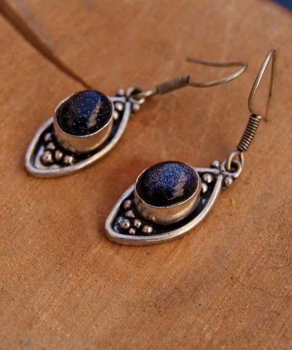 Sterling silver Blue Goldstone earrings semi di ShockedShop