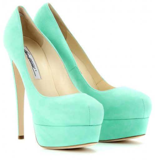 Mint shoes: Brian Atwood Hamper 150 Marilyn suede platform pumps