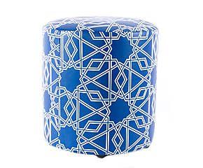 Pouf GRANADA bois, bleu - Ø30