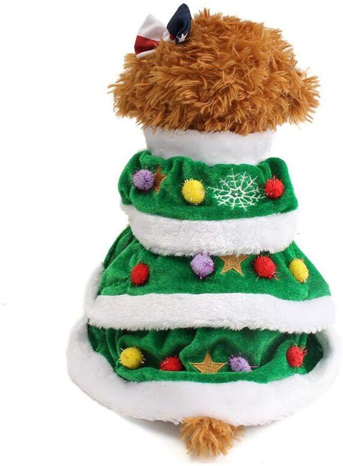 Christmas Tree Dog Pet Coat Costume Christmas Tree Dog Christmas Dog Outfits Dog Winter Clothes