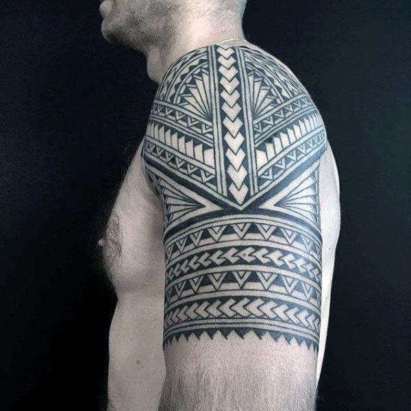 Polynesian Tribal Arm Half Sleeve Tattoo Designs On Guys