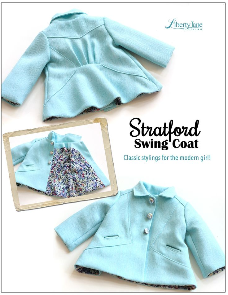 "Fall Fashion | Stratford Swing Coat 18"" Doll Clothes Pattern 
