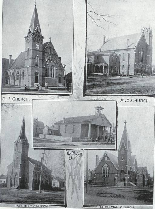 Martinsville's five earliest churches, depicted here both as they appeared in an 1895 souvenir publication and today, were erected by the founding congregations: Baptist, Catholic, Christian, Methodist, and Presbyterian.