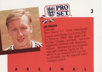 1990-91 Pro Set English League #3 Lee Dixon Back