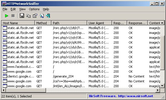 HTTPNetworkSniffer 32bit 1.35 (Click image to go to our download page.)     HTTPNetworkSniffer is a packet sniffer tool that captures all HTTP requests/responses sent between the Web browser and the Web server and displays them in a simple table. (click image to read more) #software #networking