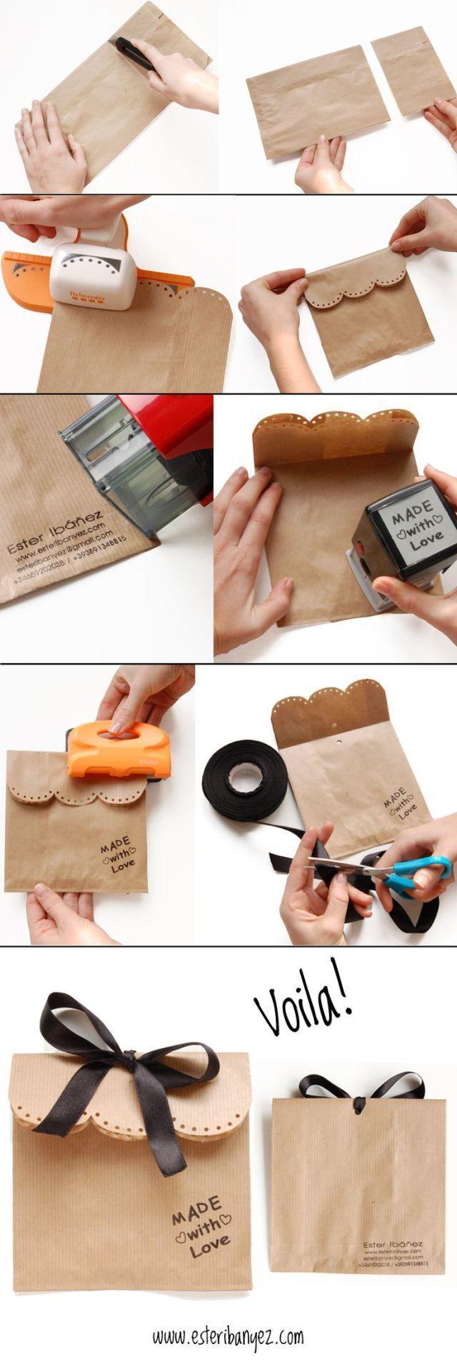 Diy Crafts Ideas : Simple brown paper bag packaging.