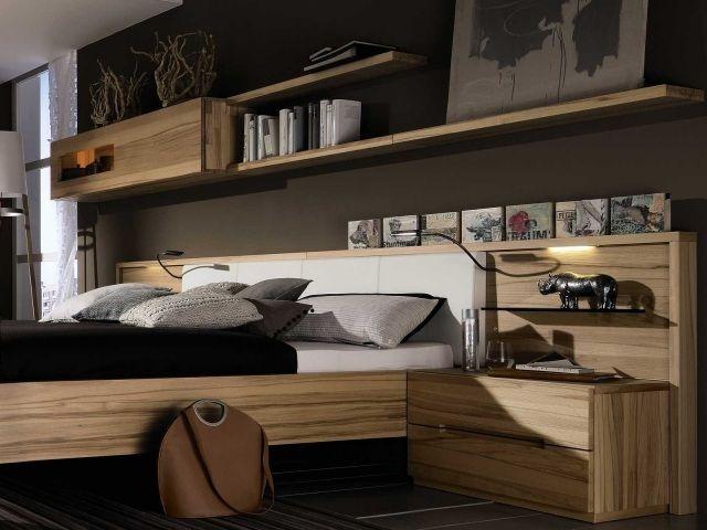 tete lit rangement etageres bois design