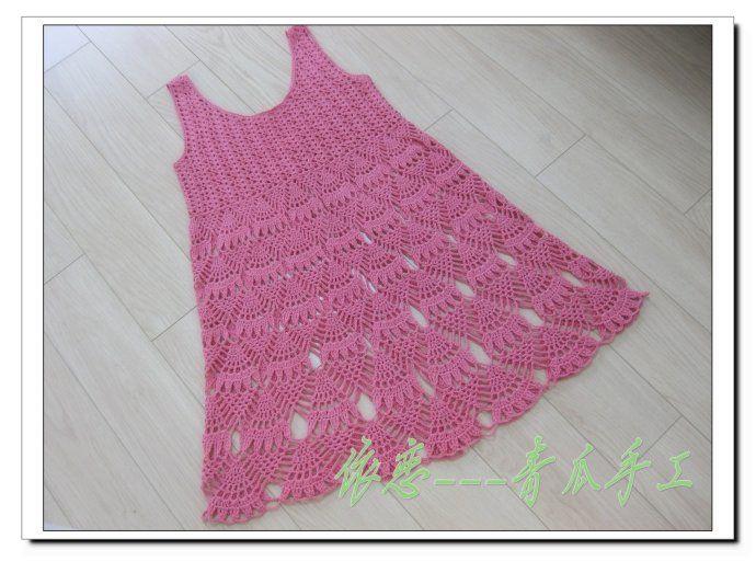 Vestido de niña en crochet: Crochet Profuga, Hook, Crochet Ropa, Crochet Barns, Crochet Dresses, Categoria Crochet, Crochet Children, Zapatito Crochet, Patterns Chest