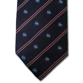 Sagittarius - Blue pure silk tie with zodiac sign and contrasting stipe, easy to match