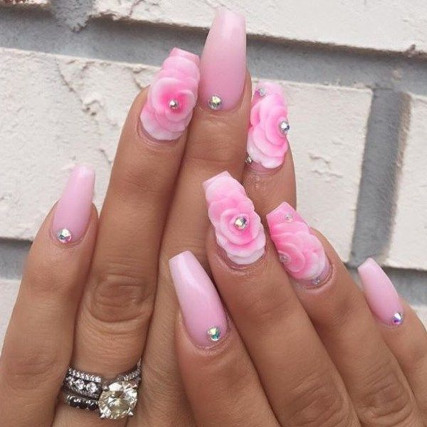 Pink White Nail Colors Floral Rose Flower Pearl Nail Art Square Coffin Acrylic Nail Design V Pink White Nails Pearl Nail Art Valentine S Day Nail Designs
