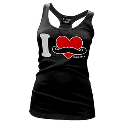 www.inkedshop.com #womens #inkedshop #tank #top #apparel #clothing #mustache #shopping Pinky Star I Love Mustaches Black Racer Back Tank