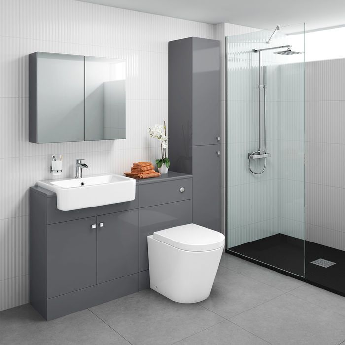 1500mm Harper Gloss Grey Combined Vanity Unit Tall Unit Mirror Cabinet Lyon Pan Toilet And Sink Unit Toilet Vanity Unit Vanity Units