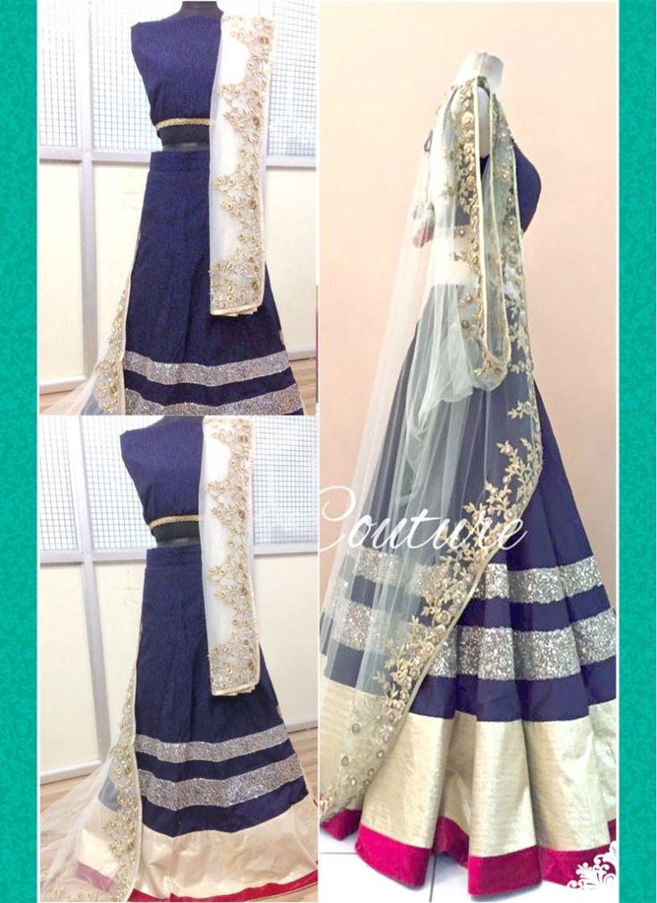 Cream and Blue Net Shimmer Work Designer A Line Lehenga Choli
