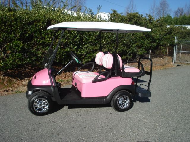 Pretty in Pink! Whether you're driving it around the course or neighborhood, show a little personality with your own customized golf cart.
