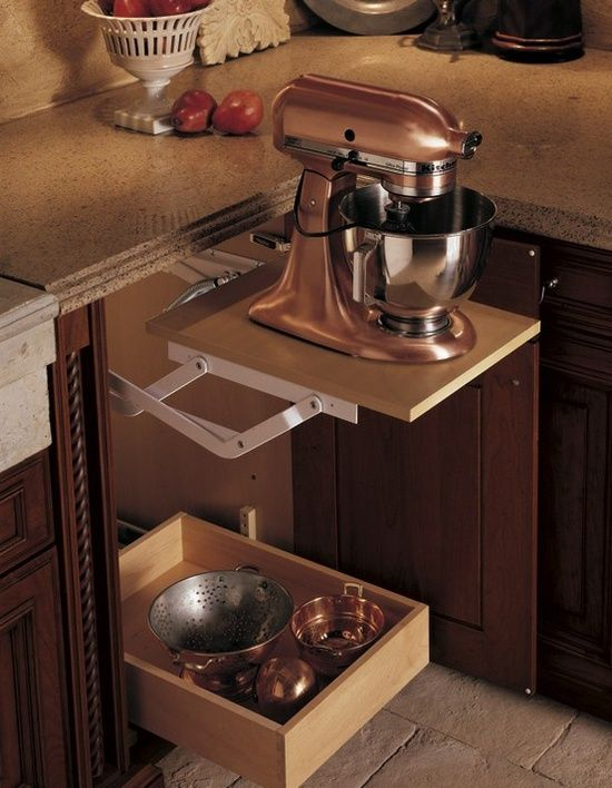I want this! Pop-up shelf so you can hide the mixer yet don't have to move it when you need it..