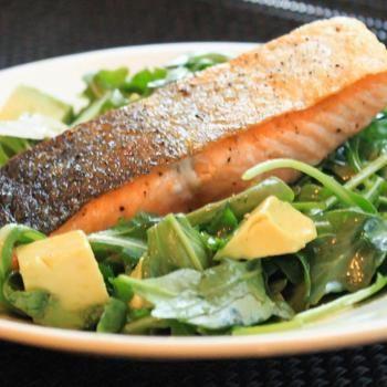 Pan-Roasted Salmon With Arugula and Avocado Salad Recipe