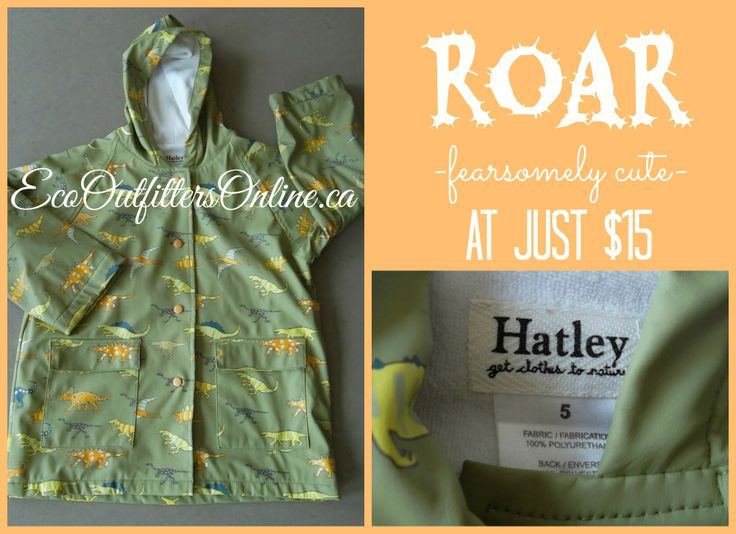 Fearsomely Cute: Get it before it gets you! #kidsfashion #kids #resale #consignment http://www.ecooutfittersonline.ca/hatley-terry-lined-dinosaur-raincoat-size-5t/